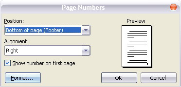 dialog box page number